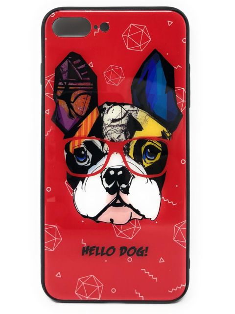 Smart Dog Hard Red Glass Back Case for iPhone
