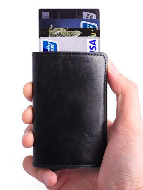 Emobik Leather Wallet with Pop-Up Card Holder & RFID Protection(Black)