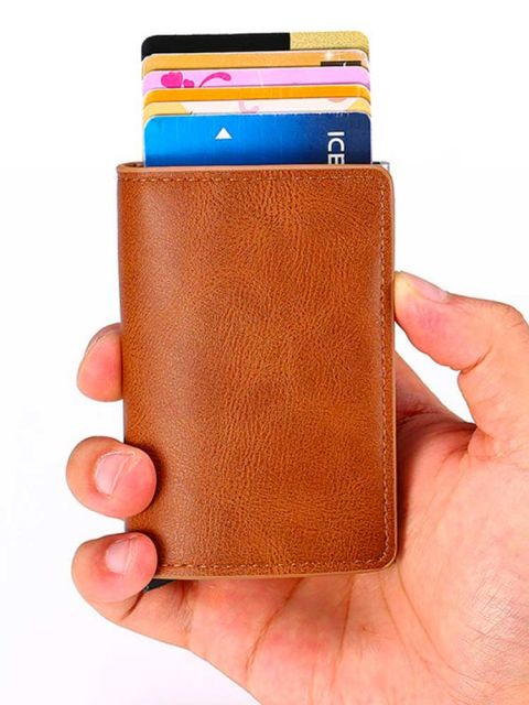 Emobik Leather Wallet with Pop-Up Card Holder & RFID Protection(Tan Brown)