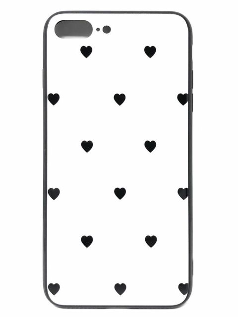 Black Hearts Glass Back Case for iPhone
